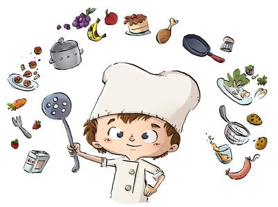 nio cocinero cocinando